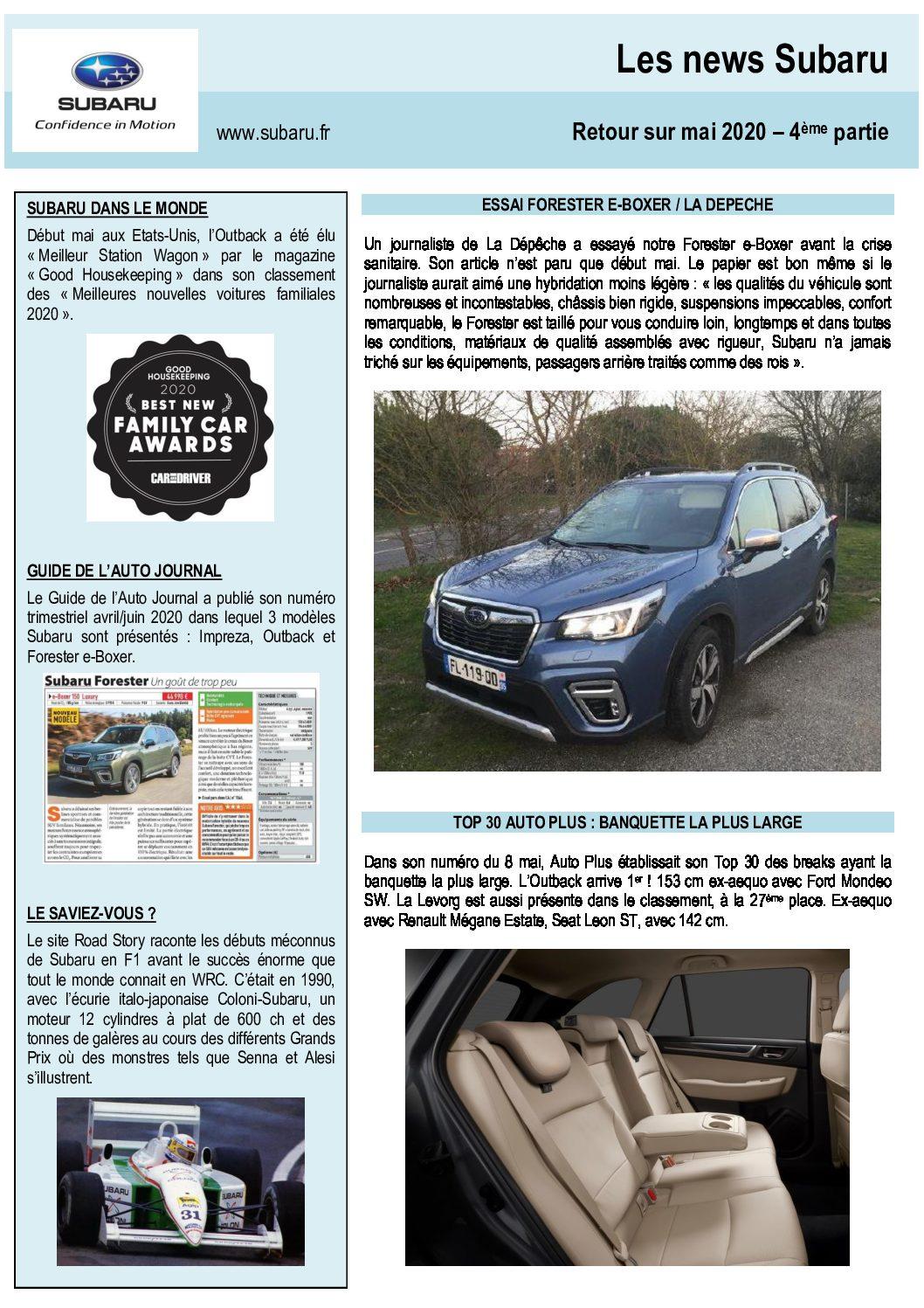 Les News Subaru – Mai 2020