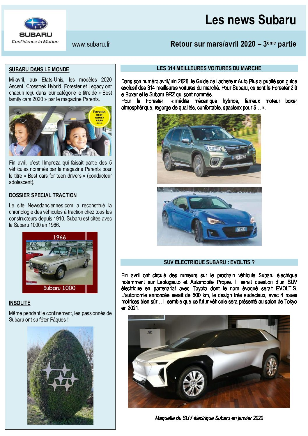 Les News Subaru – Mars / Avril 2020