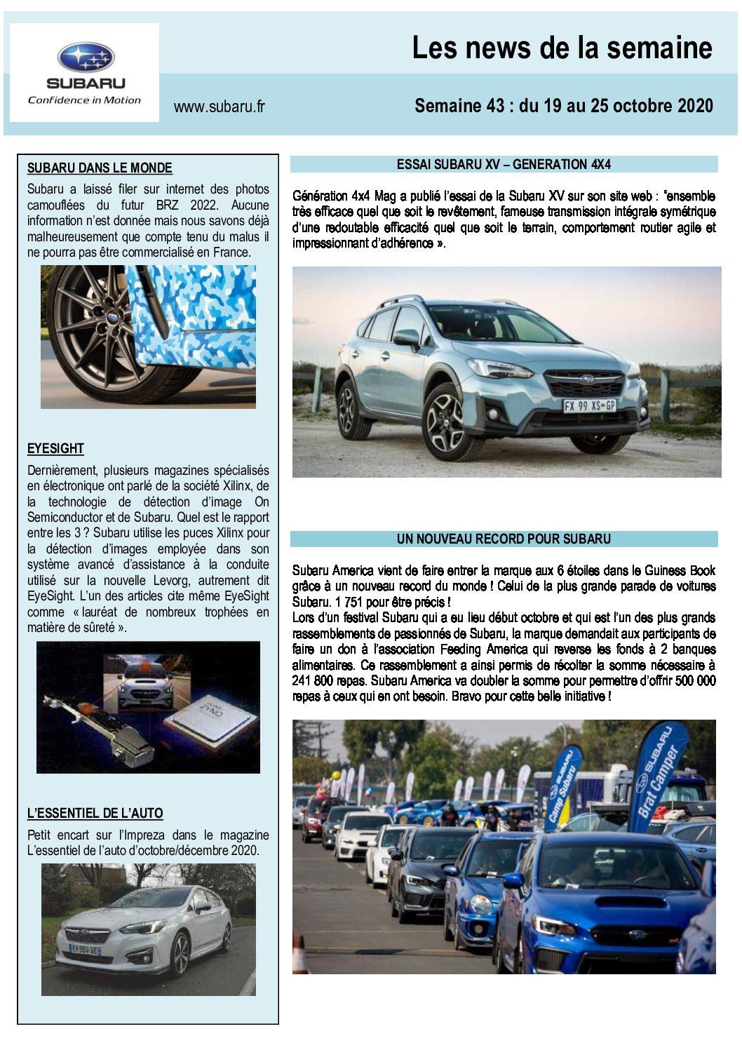 Les News Subaru – Octobre 2020