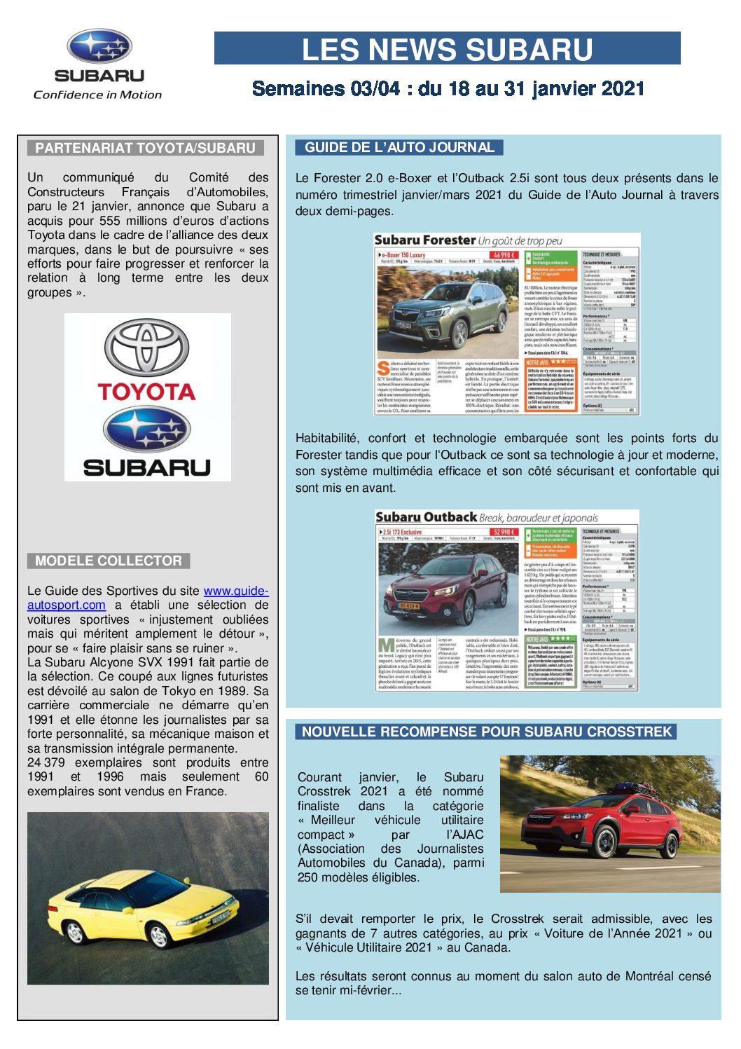 Les News Subaru – Janvier 2021