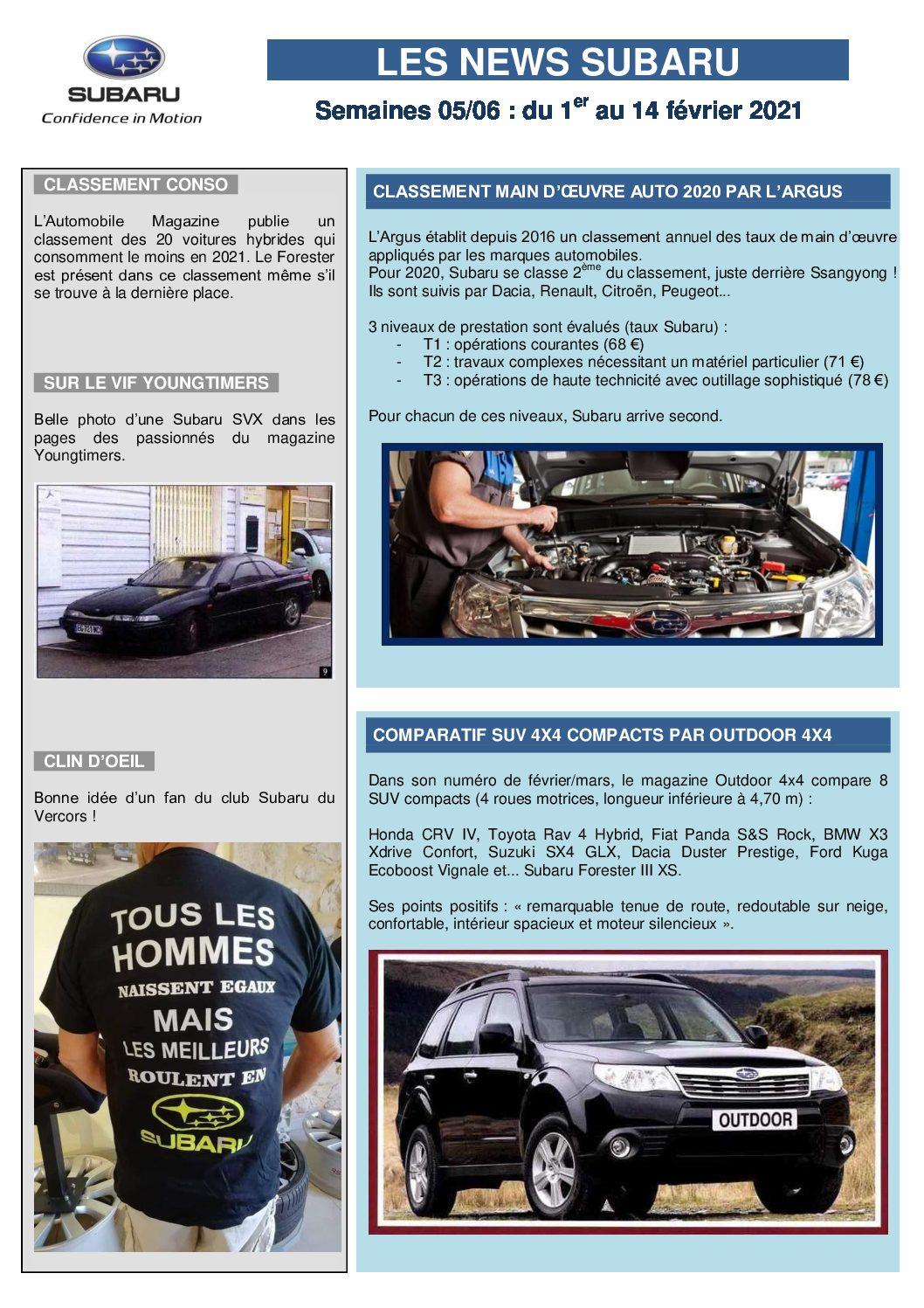 Les News Subaru – Février 2021