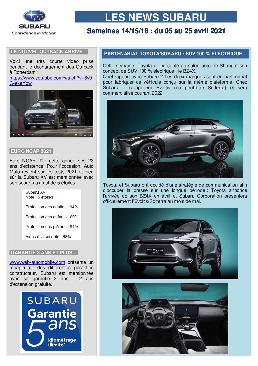 Les News Subaru – Avril 2021